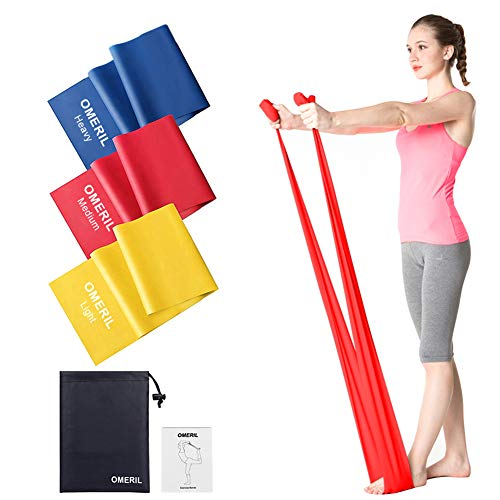 OMERIL Bande Elastiche Fitness (3 Pezzi), 2 m/ 1,5 m Fasce Elastiche con 3 Livelli di Resistenza, Fascia Elastica Esercizi Ideale per Yoga, Pilates, Allenamento di Forza e Flessibilità, Stretching