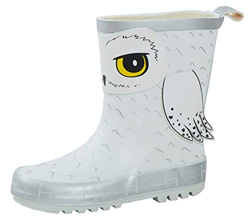 Lora Dora Kids Harry Potter Hedwig 3D Rubber Wellington Boots UK 11 White Silver