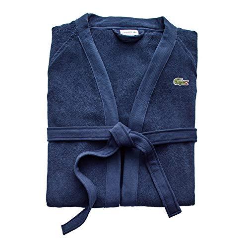 Lacoste Classic Pique Albornoz 100% algodón, 41.5 pulgadas, color negro iris