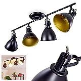 Lámpara de techo Koppom, de metal en negro/oro, 4 llamas, con focos regulables, 4 tomas E14 máx. 40 W, focos en diseño retro/vintage, posibilidad de focos LEDs
