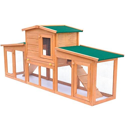 vidaXL Holz Kaninchenstall Dach Hasenstall Käfig Kaninchenkäfig Kleintierhaus