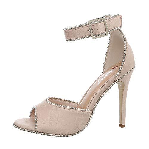 Ital-Design Damenschuhe Sandalen & Sandaletten High Heel Sandaletten Synthetik Beige Gr. 37