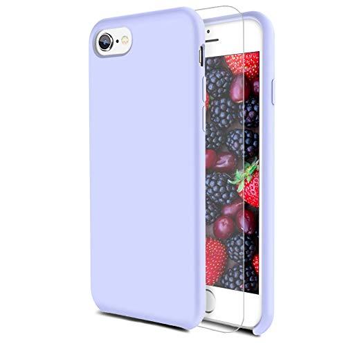 Feyten Cover iPhone 6S/ iPhone 6 [con Vetro Temperato], Custodia Gomma Gel Silicio Liquido con Fodera Microfibra Morbida Caso Silicone Sottile Protettiva Cover (Lilla Viola)