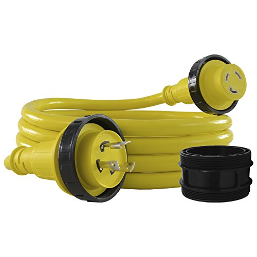 Conntek 17105-050RE Marine Shore Power 30 Amp Cordset with Light Indicator (Yellow, 50-Feet)