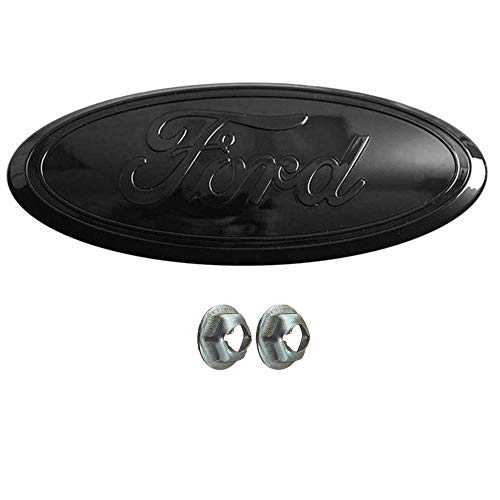 Pure Black Emblem Replacement W/Nuts Compatible with F150 2005-2014,Oval 9'X3.5',3 Mounting Tabs,Front Grill Badge NamePlate Fits 05-07 F250 F350 11-14 Edge 11-16 Explorer 06-11 Ranger