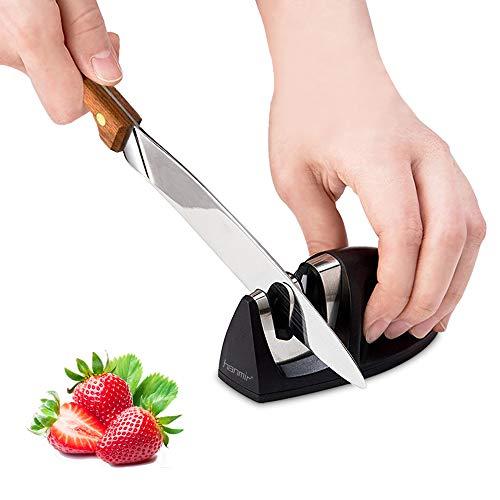 Hanmir Aiguiseur de Cuisine Professionnel 2 en 1 Manuel Aiguiseur pour Couteaux en Acier Inoxydable et céramique de Toutes Tailles,Base Anti-dérapante Noir