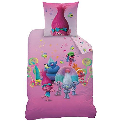 Trolls Friends - Juego de Cama (algodón, 135 x 200 cm, 2 Unidades), Color Rosa