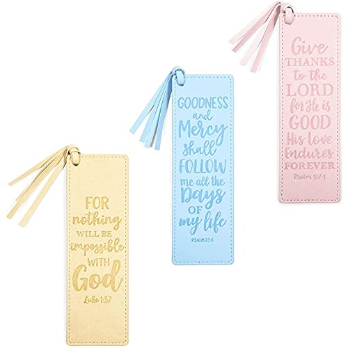 3 Piece Religious Bookmark Set for Gifts (Faux Leather, 3 Pack)