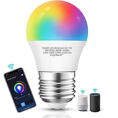 Aigostar Bombilla LED inteligente WiFi G45, 7W, E27 rosca gorda, RGB+CCT. Regulable multicolor + luz cálida o blanca 3000 a 6500K, 500lm. Compatible Alexa y Google Home [Clase energética A +]