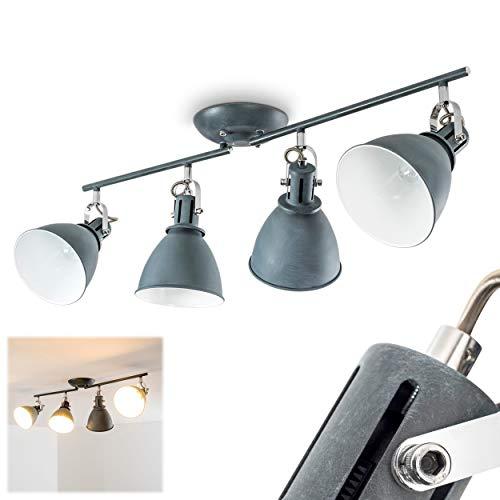 Deckenleuchte Koppom, Deckenlampe aus Metall in Grau-Blau/Weiß, 4-flammig, mit verstellbaren Lampenschirmen und Lampenarmen, 4 x E14-Fassung, 40 Watt, Retro-Design
