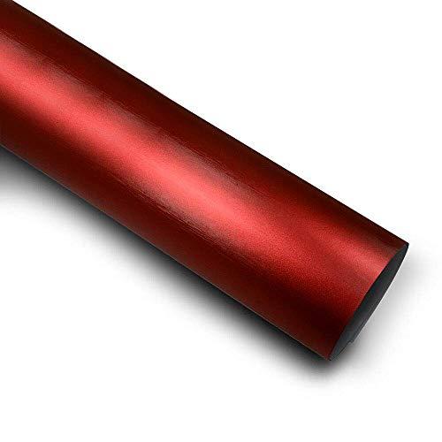 9,80€/m² Matt Chrom Metallic Gebürstet Auto Folie mit Luftkanäle Rot 100cm x 152cm
