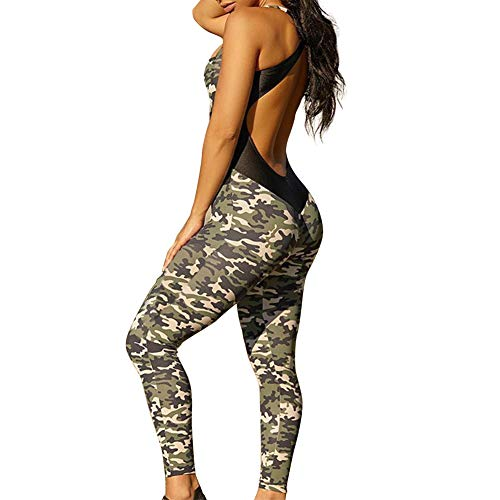 Sumtory Camo Jumpsuits for Women Workout Yoga Romper Playsuit Sleeveless Bodysuit M