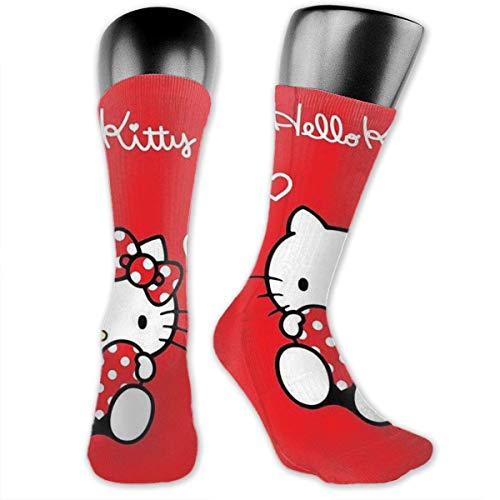 Hello Kitty - Calcetines de compresión para hombre y mujer, color rojo