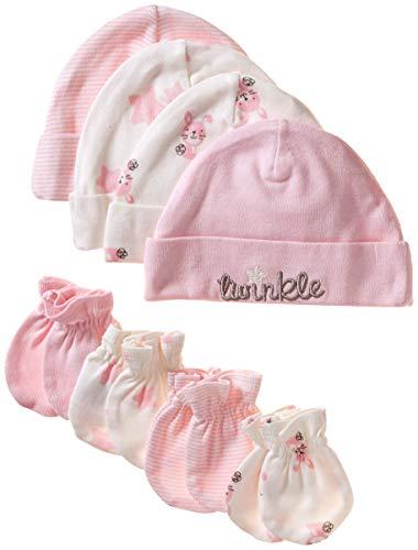 GERBER Baby Girls' 8-Piece Organic Cap and Mitten Set, Bunny, 0-6 Months