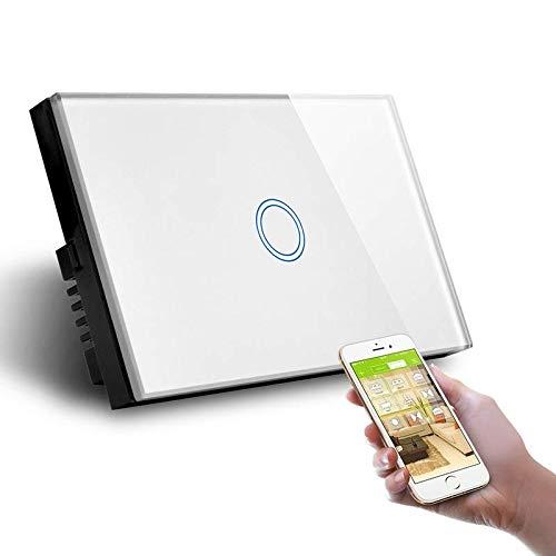Interruptor Smart Home de 1 posición táctil WiFi blanco LKM-SMSWT01W LKM Security cristal templado Control LED Compatible con Amazon Echo y Google Home