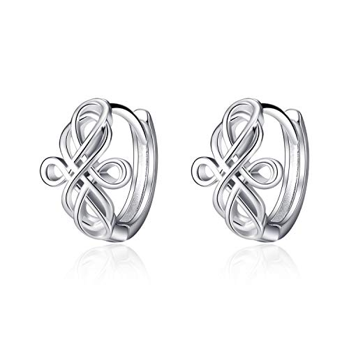WINNICACA Samll Hoop Celtic Cross Knot Earrings for Women Men Teens Sterling Silver Infinity Luck Irish Huggie Hoops Earring Jewelry Gifts Birthday