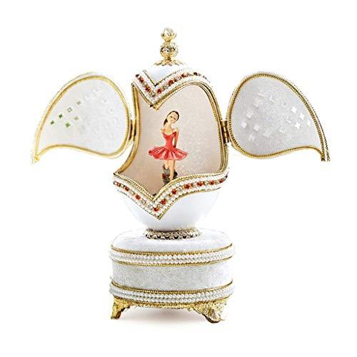 zxb-shop Caja de música Ballet Girl Dancing Egg Carving Music Box Creative Send Birthday Regalo del día de los niños Hecho a Mano Interior y Exterior Doble Caja de música giratoria Musical Caj
