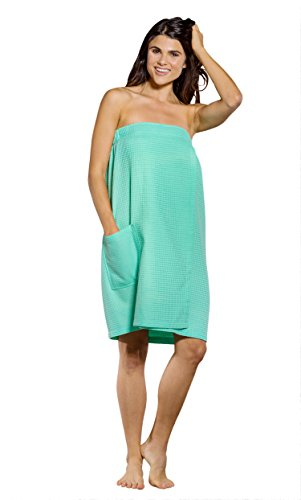 Turquaz Linen Lightweight Knee Length Spa/Bath Waffle Body Wrap with Adjustable Touch Fastener (Large, Mint Green)