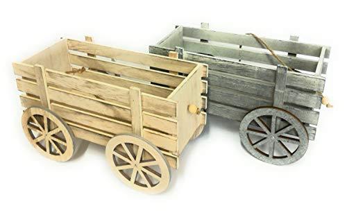 GENERAL TRADE Carretto in Legno cm 24x11 Altezza cm15 - Singolo - 2 Colori