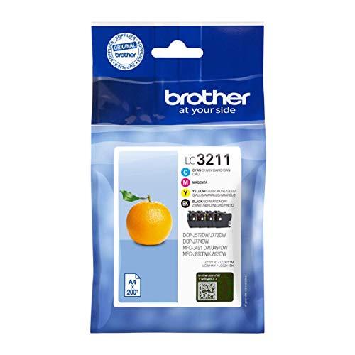 Brother LC-3211VAL 200Seiten, schwarz, cyan, magenta, gelb, Tintenpatrone–Tintenpatronen (DCP-J774DW MFC-J890DW MFC-J895DW, Standard Ertrag 200Seiten)