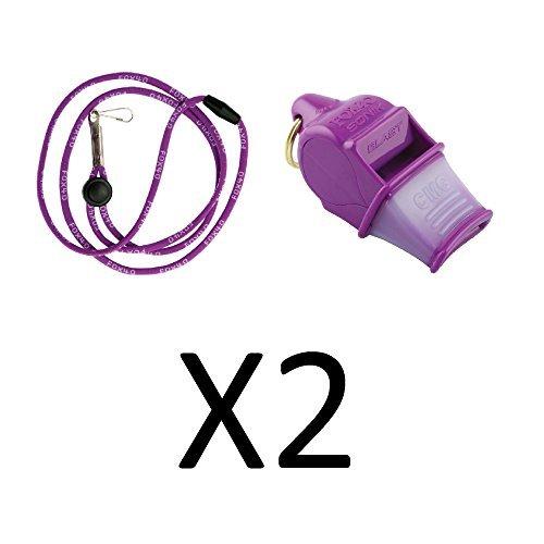 Fox 40 Sonik Blast CMG Whistle w/ Lanyard Referee Dog Purple (2-Pack)