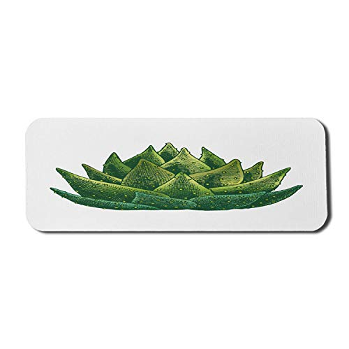 Agave Plant Computer Mauspad, Cartoon illustriert beliebte Kaktus-Themen Tequila Zutat Kräuter, Rechteck rutschfeste Gummi Mousepad groß weiß und Farn grün