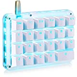 Koolertron One Handed Macro Mechanical Keyboard, Portable Mini One-Handed Mechanical Gaming Keypad 23 Fully Programmable Keys (Blue Backlit/Red switches)