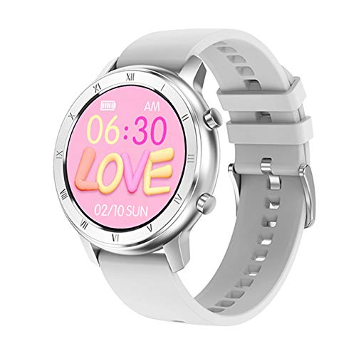 Reloj inteligente de tacto completo para mujer, IP68, pulsera impermeable, ECG, monitor de ritmo cardíaco, monitoreo del sueño, reloj inteligente deportivo para mujeres (color blanco de silicona)