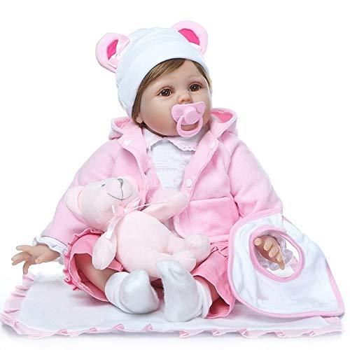 Pinky Reborn Muñecas 22 Pulgadas 55cm Muñecas Reborn Realistas Muñecas de Silicona Suave Bebe Reborn Muñecas Mejor Simulación Juguetes para Niños Regalos de Cumpleaños