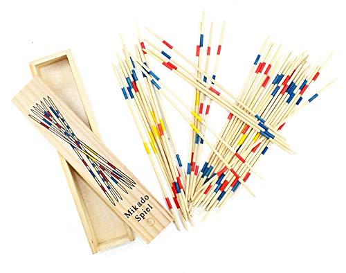 wuselwelt Holz Mikado Spiel, Mikadospiel, in Holzbox, Holzschachtel, Gesellschaftsspiel, Familienspiel, Reisespiel