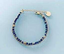 Bracciale doppio Lapis Lazuli, braccialetto donna gourmet pietre naturali magiche e perle Heishi placcate in oro 24k