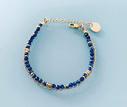 Pulsera doble Lapis Lazuli, pulsera gourmet mujer pulsera piedra natural mágica y 24k perlas Heishi bañadas en oro, pulsera de oro