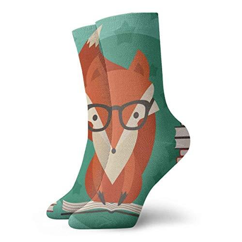 Dydan Tne Kompressionsstrümpfe Crew Socken Pädagogisches Fox Lesebuch Crew Socken Adult Funny Socks