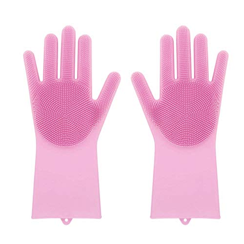 AKwell Magic Saksak Reusable Silicone Gloves with Wash Scrubber, Heat Resistant, for Cleaning, Household, Dish Washing, Washing The Car,Cleaning Pet Hair Care (Pink)