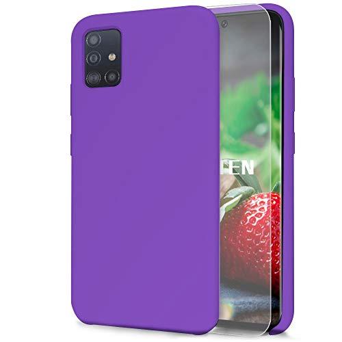 Feyten Kompatibel mit Samsung Galaxy A71 Hülle [mit Displayschutz], Silikon Schutzschale Handyhülle Schutzhülle Bumper Case Schutz vor Stoßfest/Scratch Cover für Samsung Galaxy A71 (Lila)