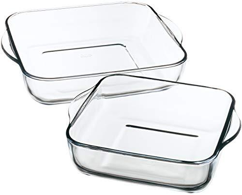 Borcam 1690037 Auflaufform, quadratisch, Glas, transparent, 31,5 x 28 x 6 cm, 2 Stück