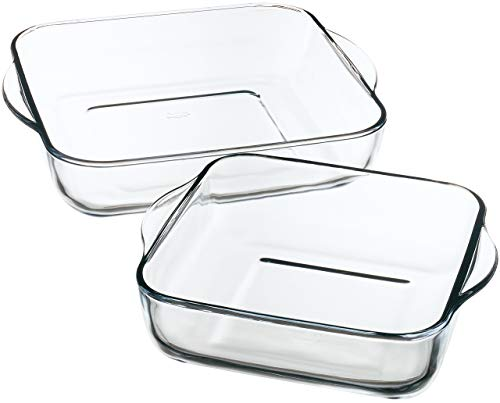Borcam 1690037 Lot de 2 Plats à Four Care, Verre, Transparent, 31,5 x 28 x 6 cm