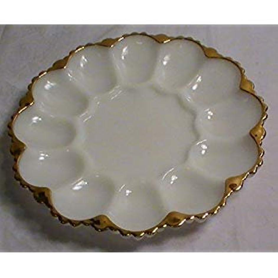 Milk Glass Gold Trimmed Deviled Egg Plate