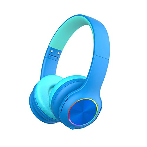 Bluetooth Kids Headphones, Candy Bila Wireless Headphones with MIC & LED Light, Stereo Sound, Bluetooth 5.0, 25H Playtime, Foldable, TF Card, 94dB Volume Limited for Smartphones/Laptop/PC/TV, Blue