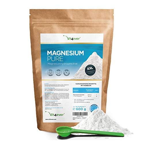 Magnesium Pure - 600 g Pulver (4,3 Monate Vorrat) - Laborgeprüft (Wirkstoffgehalt & Reinheit) - Reines Pulver ohne Zusatzstoffe - Premium Qualität - Vegan