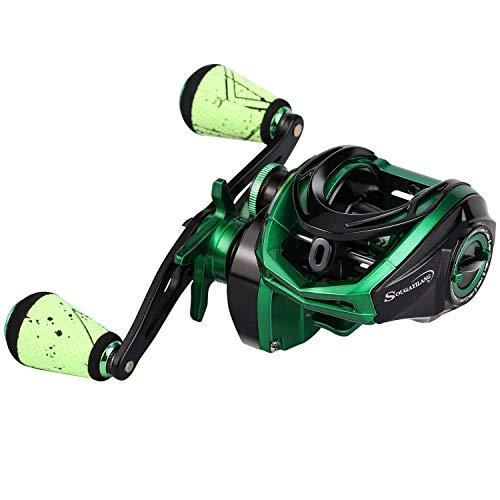 Sougayilang Baitcasting Reel 18LB Carbon Fiber Drag Baitcasters Unequaled Affordable High-tech Innovation Baitcast Fishing Reels - Green -Right Handed