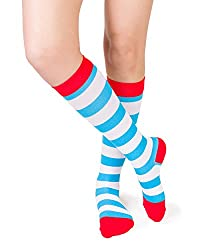 Red white and blue striped compression socks