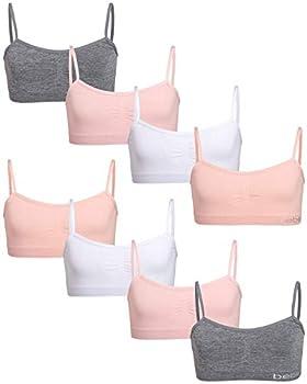bebe Girl s Seamless Training Cami Sports Bra  8 Pack  Size Medium Light Coral/White/Sweet Pink/Heather Grey