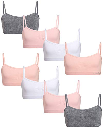 bebe Girl's Seamless Training Cami Sports Bra (8 Pack), Light Coral/White/Sweet Pink/Heather Grey, Size Large