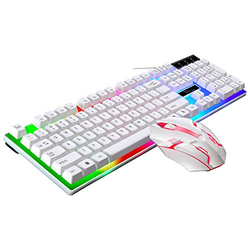 Mechanical Keyboard&Mouse 2-Pieces Set, 104 Keys Colorful LED Backlit USB Wired PC Rainbow Gaming Keyboard Mouse (104 Key, White)