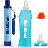 SimPure Water Filter Straw, Portable Water Purifier with 500ml Foldable Water Bottle, Outdoor Survival Gear for Camping Hiking and Emergency, BPA Free