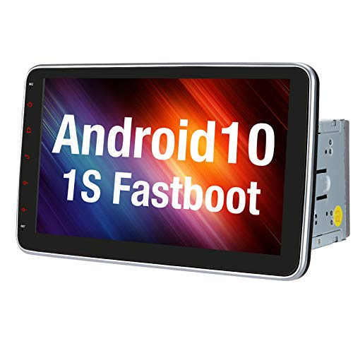 Vanku 10.1' Android 10 Double Din Car Stereo with Fastboot, GPS, WiFi, Support Android Auto, Backup Camera, USB SD, Detachable Touchscreen