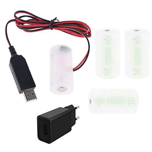 Kcibyvx EU-Stecker USB-Batterie Netzteil Adapter Kann 1-4 Stück 1.5 V 3 V 4.5 V 6 V C Größe LR14 Batterie Eliminator 1 M Kabel Ersetzen