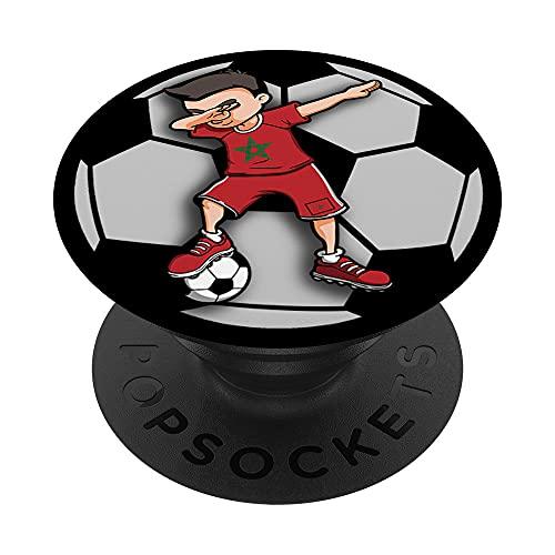 Dabbing Soccer Boy Marruecos - Camiseta de fútbol con bandera marroquí PopSockets PopGrip Intercambiable
