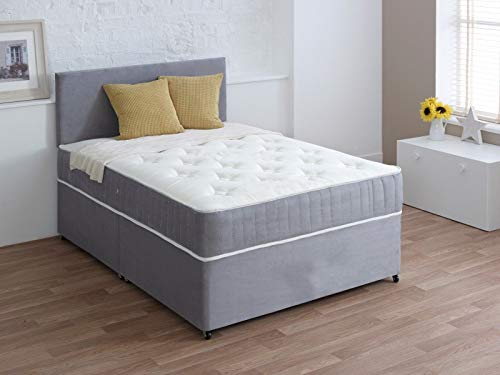Luxury Suede Divan 2FT6 Small Single Bed Set with Mattress - HEADBOARD and Available Storage Drawers (2FT6 0 Drawer, Silver Suede)